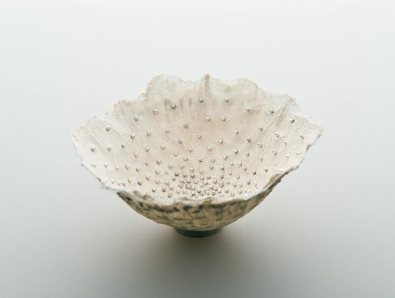 Paper Vessel - Sabrina Meyns - Handmade paper, dandelion seeds, fine silver, 2008