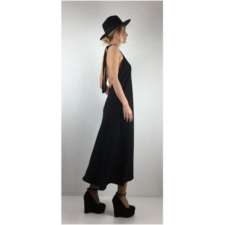 Siyah Boyundan Bağlamalı Elbise - Black Tie Neck Dress