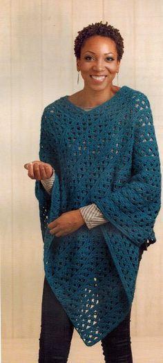 Leisure Arts Boho Chic Crochet Ponchos - Crochet Pattern. Join the fashion…