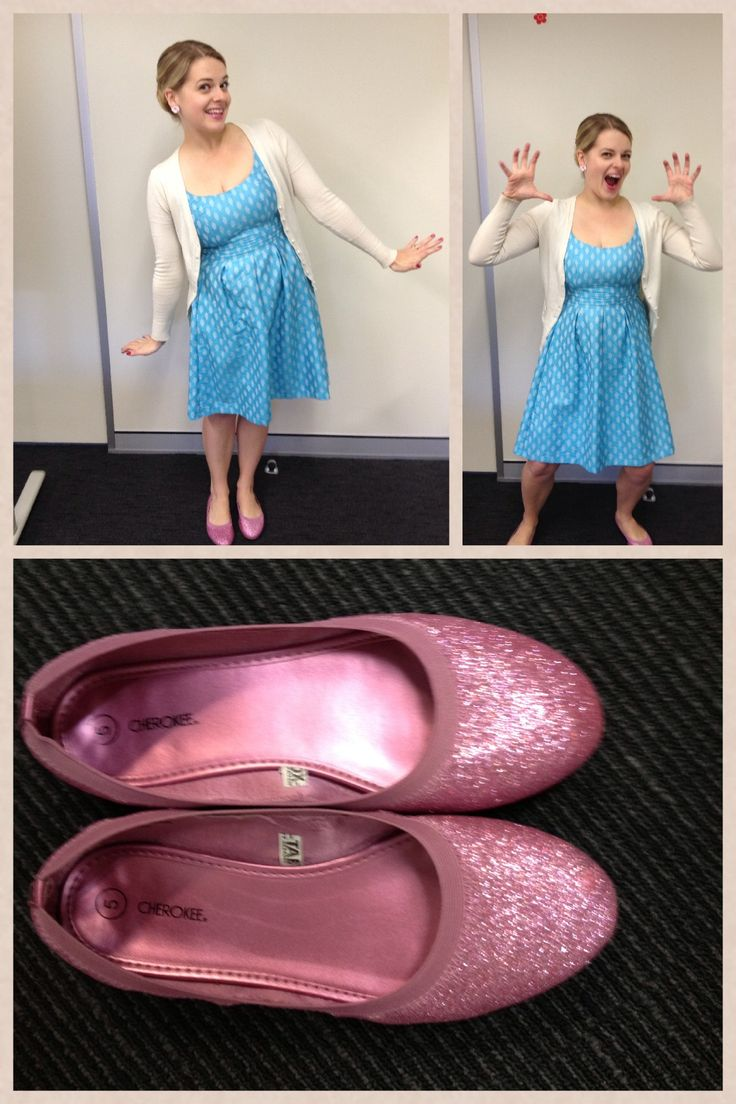 Day 25: Nine West dress, pink sparkle shoes, old cardi and lots of cute.