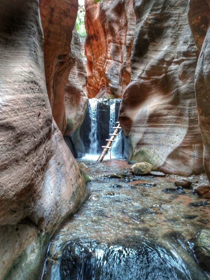 Before long, you'll reach the waterfall.  Kanarraville, UT  A approx 3hr hike, but looks so worth it!