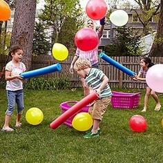 """Pool noodles, balloons, baskets, game for kids to try getting balloons into basket, from """"DYI Corner"""""""