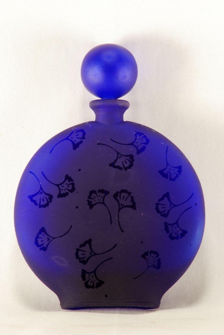 Antique Satin Glass Perfume Bottle w Original Glass Dauber Cobalt Blue C1930s |