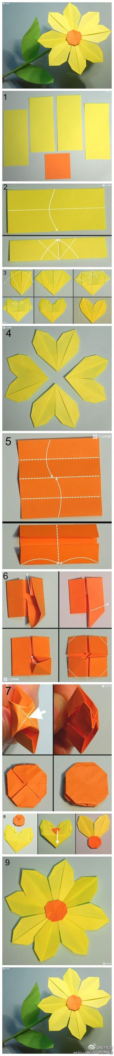 How to make pretty paper craft origami yellow flower step by step