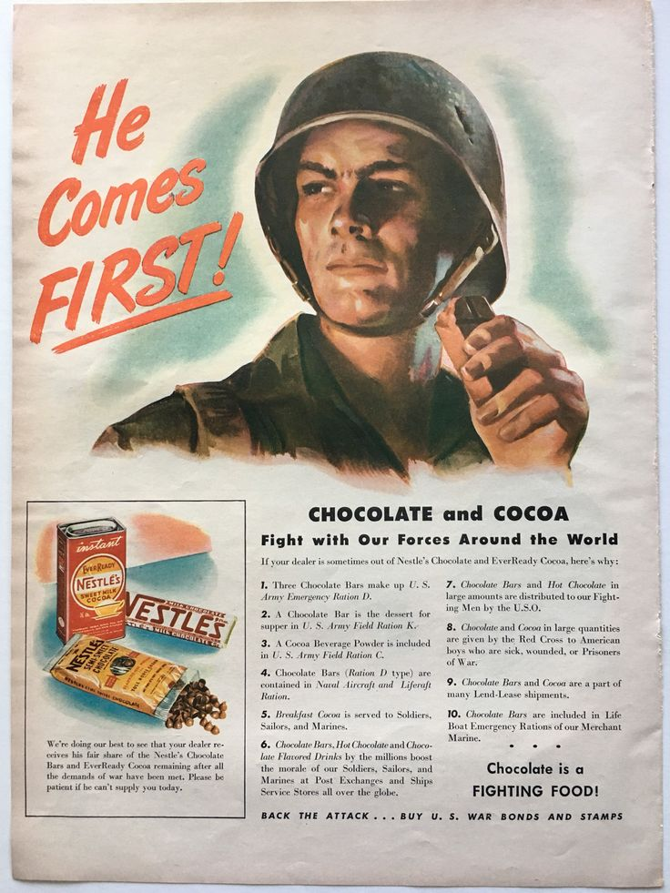 1943 Chocolate WWII Ad from LIFE magazine | Awesome ...