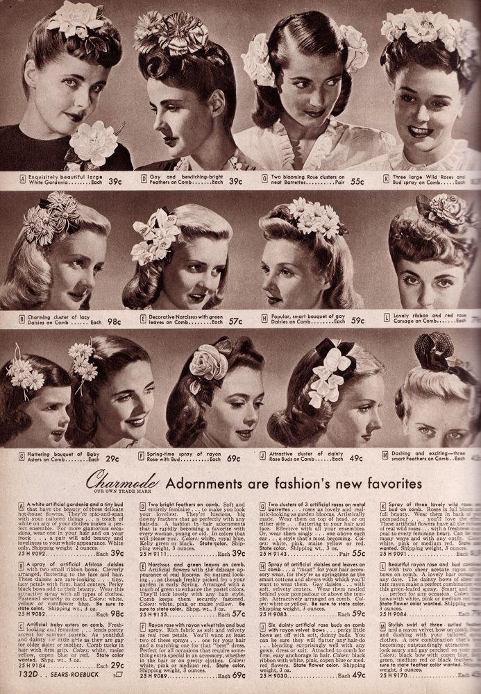 1940's hair with flowers