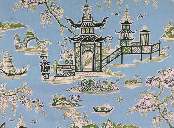 Peaceful Temple Asian Drapery Fabric A modern toile fabric featuring playful asian temples. Colors include soft blue and lime green. Suitable for