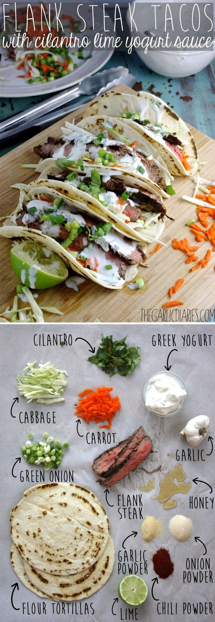 Flank Steak Tacos with Cilantro Lime Yogurt Sauce