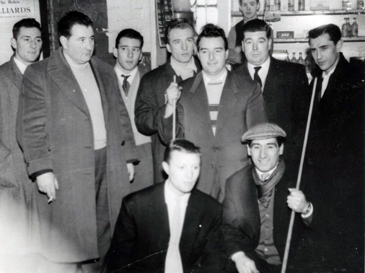 Billy Donovan, Pat Connolly, Reg Kray, Charlie Kray, Johnny Davis, Tommy Flat, far right unknown, bottom two unknown at Regal Billiards Hall in Bethnal Green.