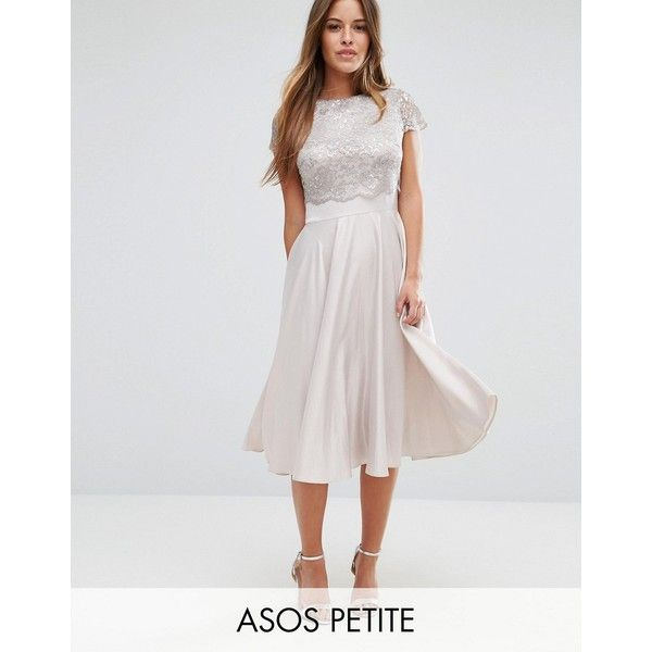 ASOS PETITE Lace Metallic Crop Top Midi Skater (€71) ❤ liked on Polyvore featuring dresses, petite, silver, petite fit and flare dresses, lace skater dress, midi skater dress, skater dress and high neck lace dress
