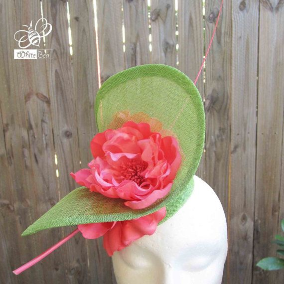 Green and Coral Fascinator  Sinamany with material by WhiteBea, $68.00