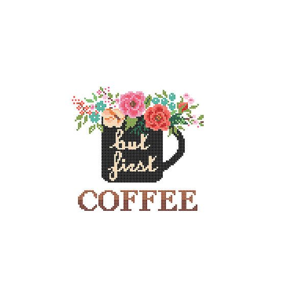 But First Coffee Cross Stitch Pattern cross stitch Floral Coffee Mug cross…