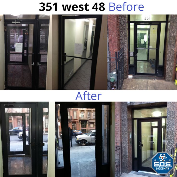 Before and After 351 West 48 Door Installation done by SOS