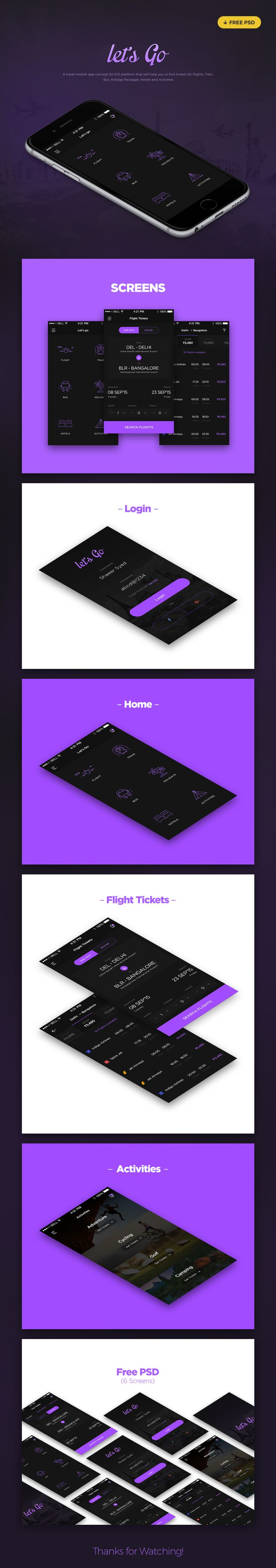 Let's Go Travel App - Free PSD on Behance
