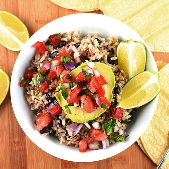 10 Minute Avocado Rice Bowls with Black Beans and Tomato Salsa