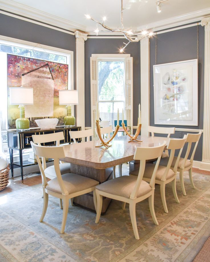 Dining room design with cream dining chairs blue print for Dining room ideas cream