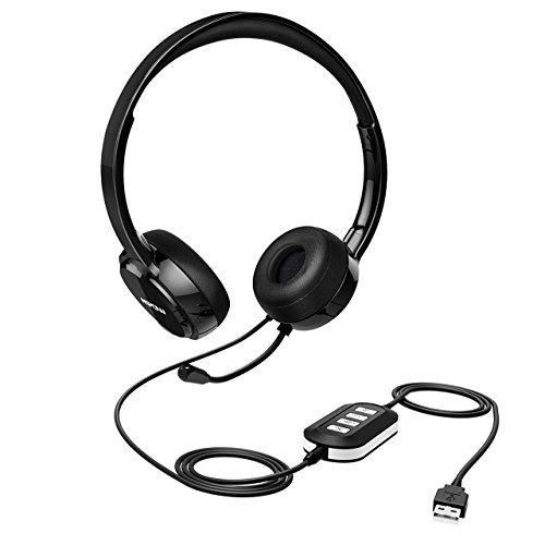 Mpow PC Headset 3.5mm/USB Headset Noise Cancelling Mic Stereo On-Ear Headphones for Skype PC Cell Phone