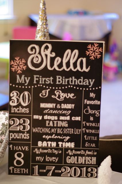 Great 1st birthday party chalkboard sign! See more party ideas at CatchMyParty.com. #1stbirthdayparty #girlbirthday #chalkboard