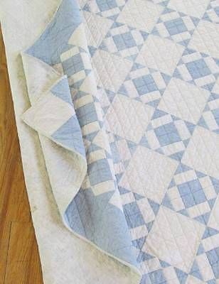 Lovely Antique Blue White Farmhouse Cottage Quilt C1900 | eBay