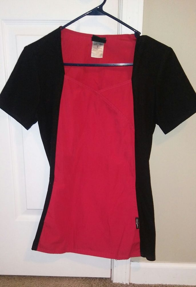 baby phat scrub top size small red and black fitted | Clothing, Shoes & Accessories, Uniforms & Work Clothing, Scrubs | eBay!