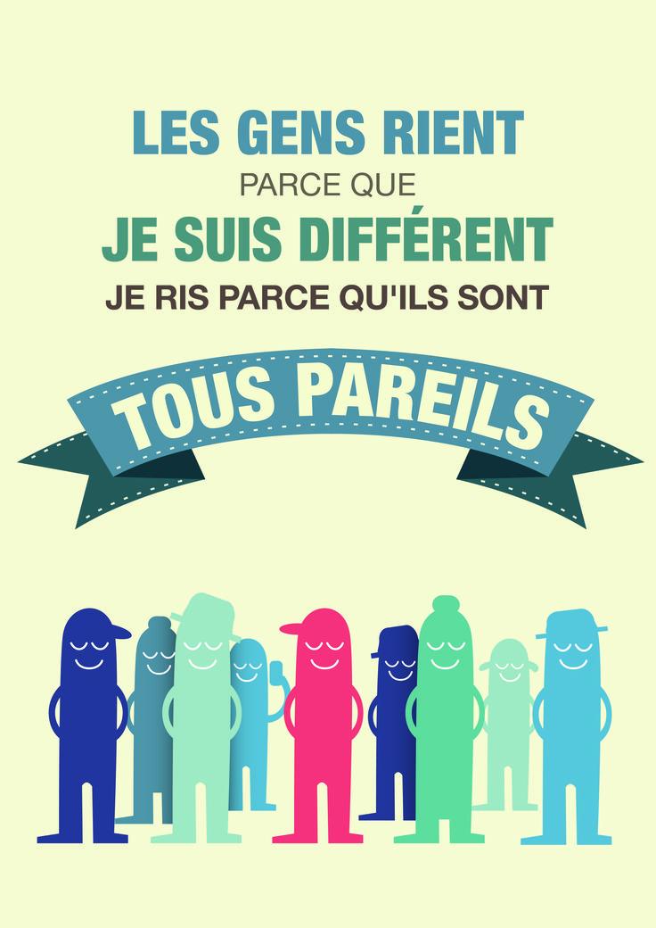#JournéeInternationale #handicap #sensibilisation #Hoptoys #Poster #Handicap Les gens rient parce que je suis différents, je ris parce qu'ils sont tous pareils. #différence