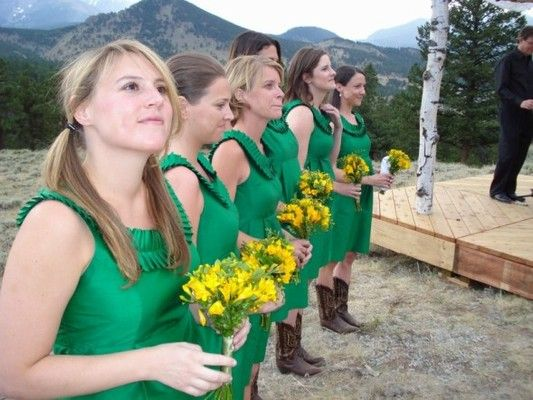 green dresses, yellow flowers and boots... love it!