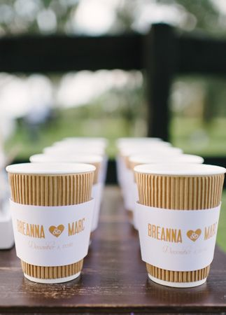Custom Cup Sleeves | Rustic White Photography | blog.theknot.com