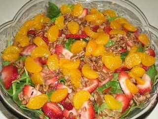 Spinach salad. Ready to eat baby spinach, Strawberries, Mandarin ...