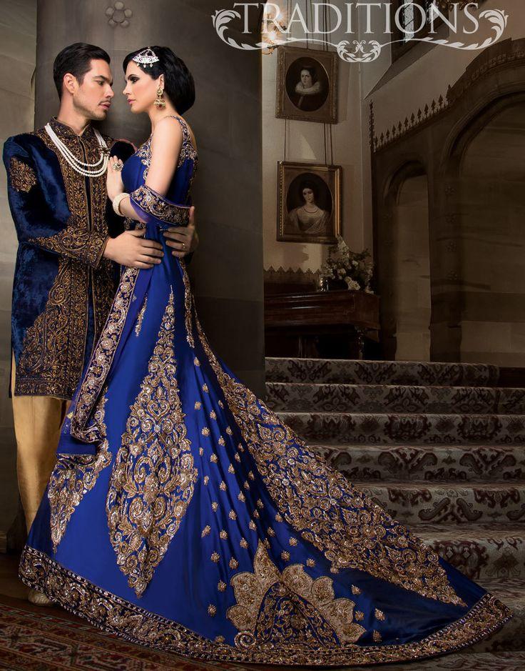 Blue Taffeta Wedding Dress For Indian And Pakistani Brides