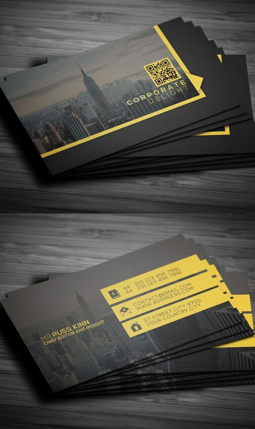 Flat Corporate Delight Business Card #businesscards #psdtemplate #printready #photoshopbusinesscards