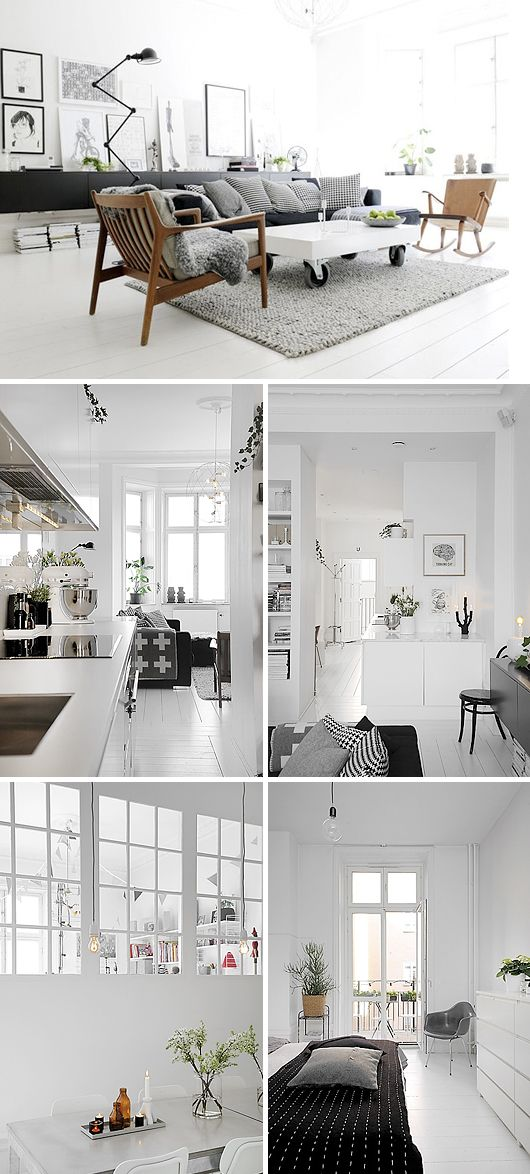 A Scandinavian styled home. Beautiful bright white interior with pops of black and neutrals to break it up.