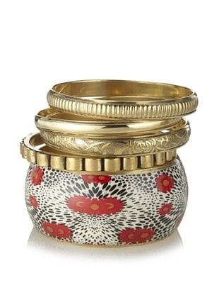66% OFF Chamak by Priya Kakkar Set of 5 Gold-Tone & Red Bangles