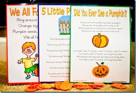For our weekly music time, we sing many of the same songs each week {which you can find here}, and I am also adding in some special seasonal songs. This week I chose a few PUMPKIN SONGS from my former Kindergarten teaching days. I decided to make new printables for us and for you this time!  I printed our songs 1 per page this time {trimming a bit after printing} and then mounted them to colored cardstock before laminating.