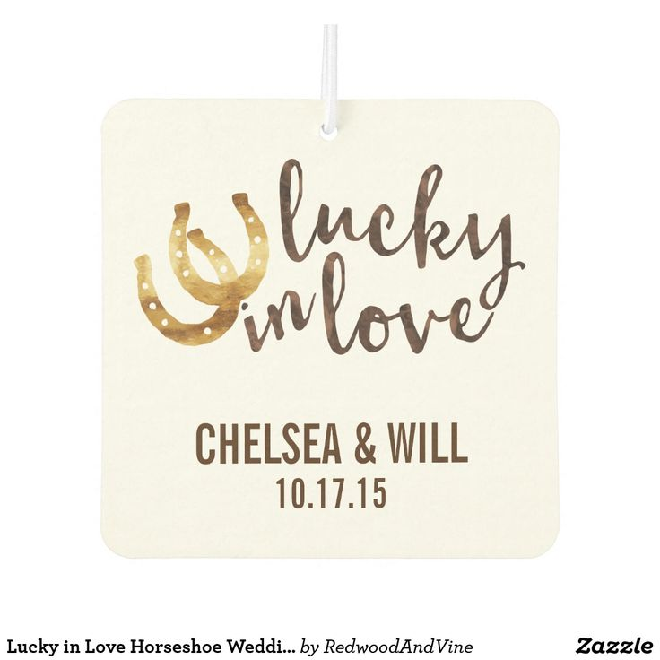 """Lucky in Love Horseshoe Wedding Favor Car Air Freshener Design features two golden horseshoes and """"Lucky in Love"""" in autumn brown watercolor. Coordinating accessories available in our shop!"""