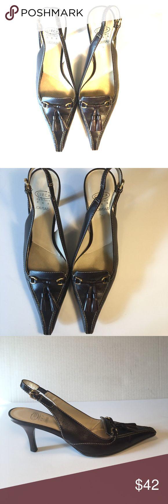 Joan & David sling back shoe Joan & David chestnut brown beautiful sling back heal shoe. Great condition . Joan & David Shoes Heels
