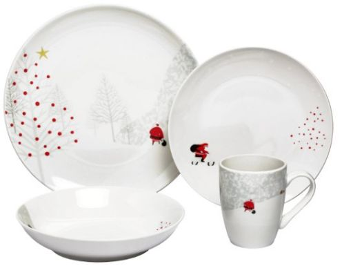 This charming HOLIDAY DINNERWARE is sure to bring a smile to your dinner guests this holiday. This 16-piece set is microwave and dishwasher safe.