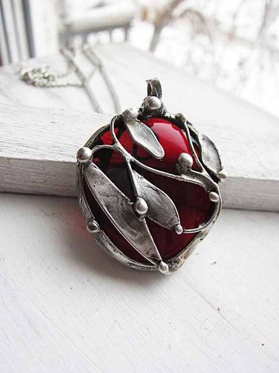 Glass pendant red big pendant tiffany necklace by MaryBulanova