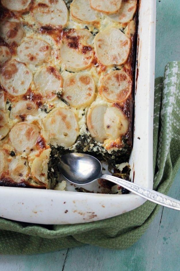 Spinach, Feta and Potato Gratin