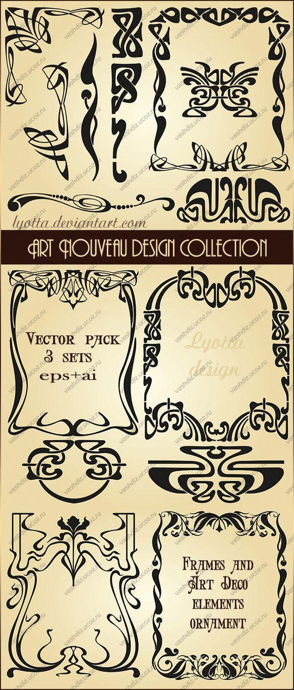 Art Nouveau design collection. Vector set. Vector set of elements in the style of Art Nouveau. Beautiful vintage frames and decor elements for design and decoration works in the popular Art Deco st...