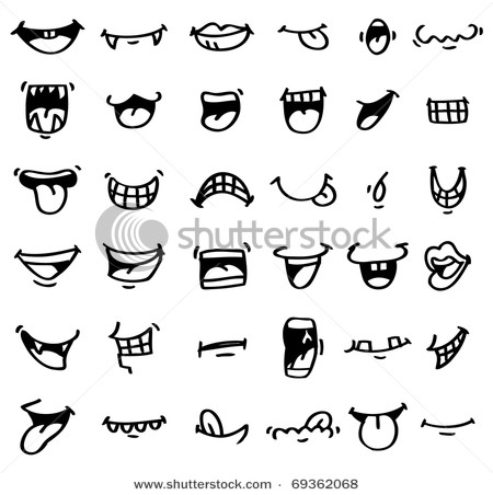 hand draw cartoon mouth icon