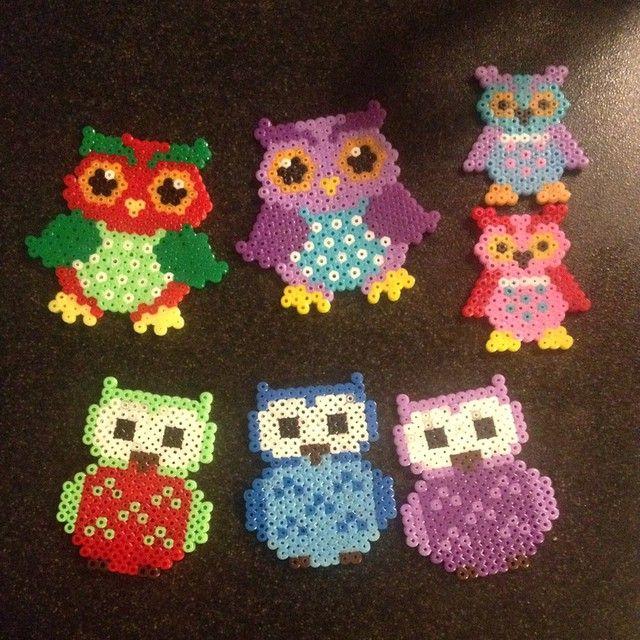 Owls hama mini beads by natasjakk21
