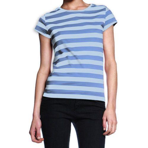 Ladies Blue Nautical Striped T-Shirt Womens Stripe 100% Cotton Tee Top S,