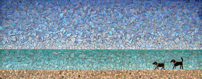 """""""Shoreline""""  Broken plates, ceramic tile mosaic  20""""h x 46""""w  SOLD    ©Michael Sweere - All Rights Reserved"""