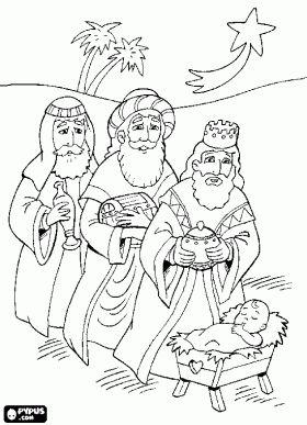 Caspar, Melchior en Balthasar die hun geschenken voor het Kindje Jezus in het licht van de kerst-ster kleurplaat