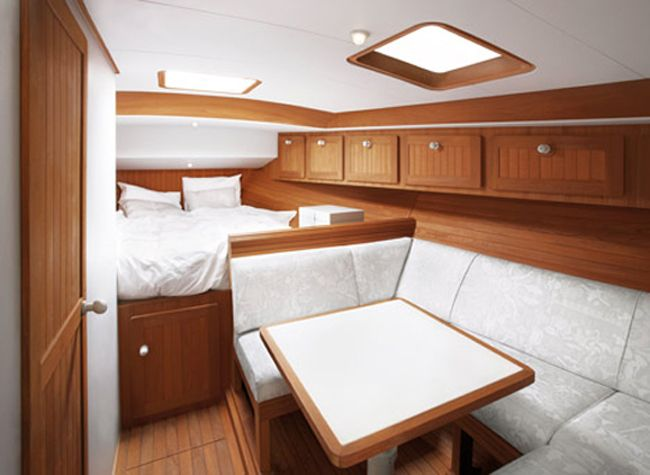beautiful wooden cabin deisgn of boat interior