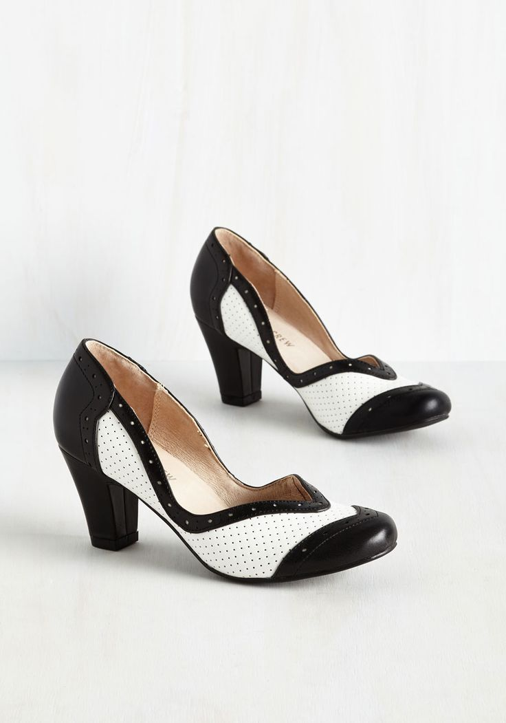 Twentieth Century Foxtrot Heel in Black and White. Flaunt your love of retro style by stepping in front of the camera in these black and white heels by Chelsea Crew. #black #wedding #modcloth