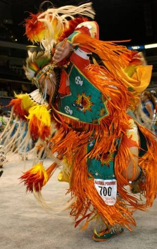 Michael Roberts (Choctaw/Chickasaw) from Ada, Oklahoma, competes in the Men's Fancy Dance at the National Powwow in Washington, DC