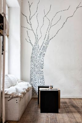 Nursery décor ideas....and the tree would be a wonderful fit...perhaps a poem to the newborn! Méchant Design