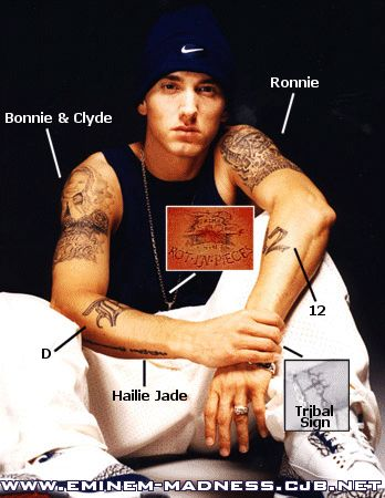 Eminem And His Daughters Hailey | There is a description of each tattoo under the picture.
