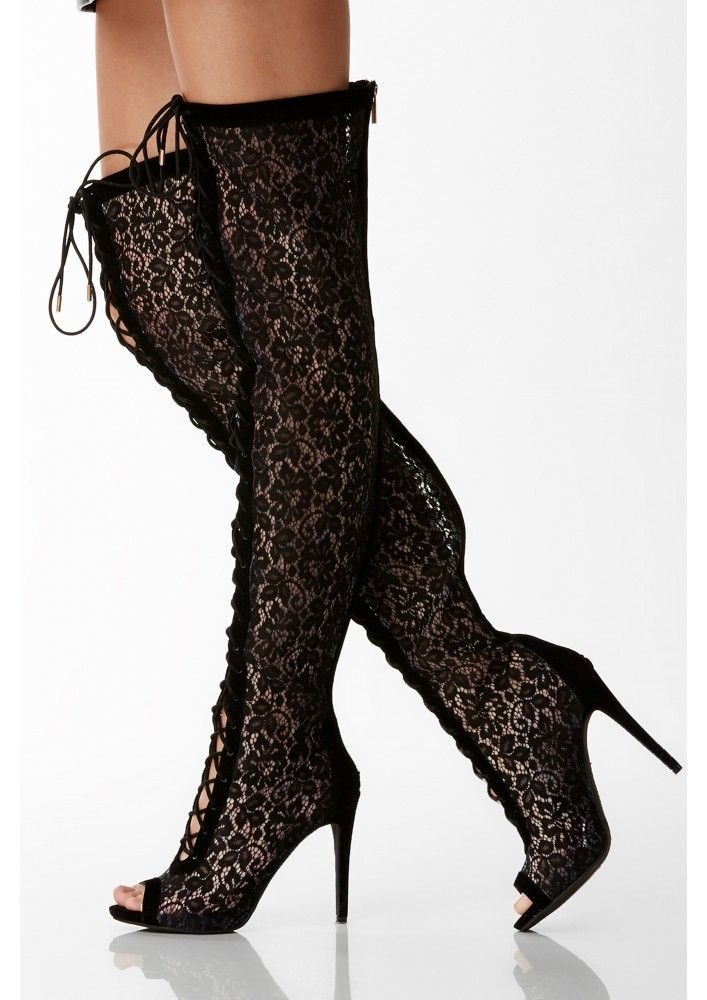 wall flower thigh high lace up boots in black